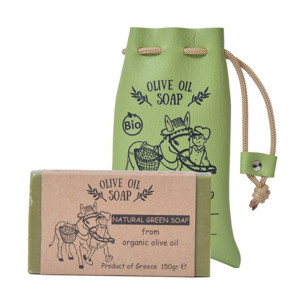 Natural green olive oil soap in a handcrafted synthetic pouch