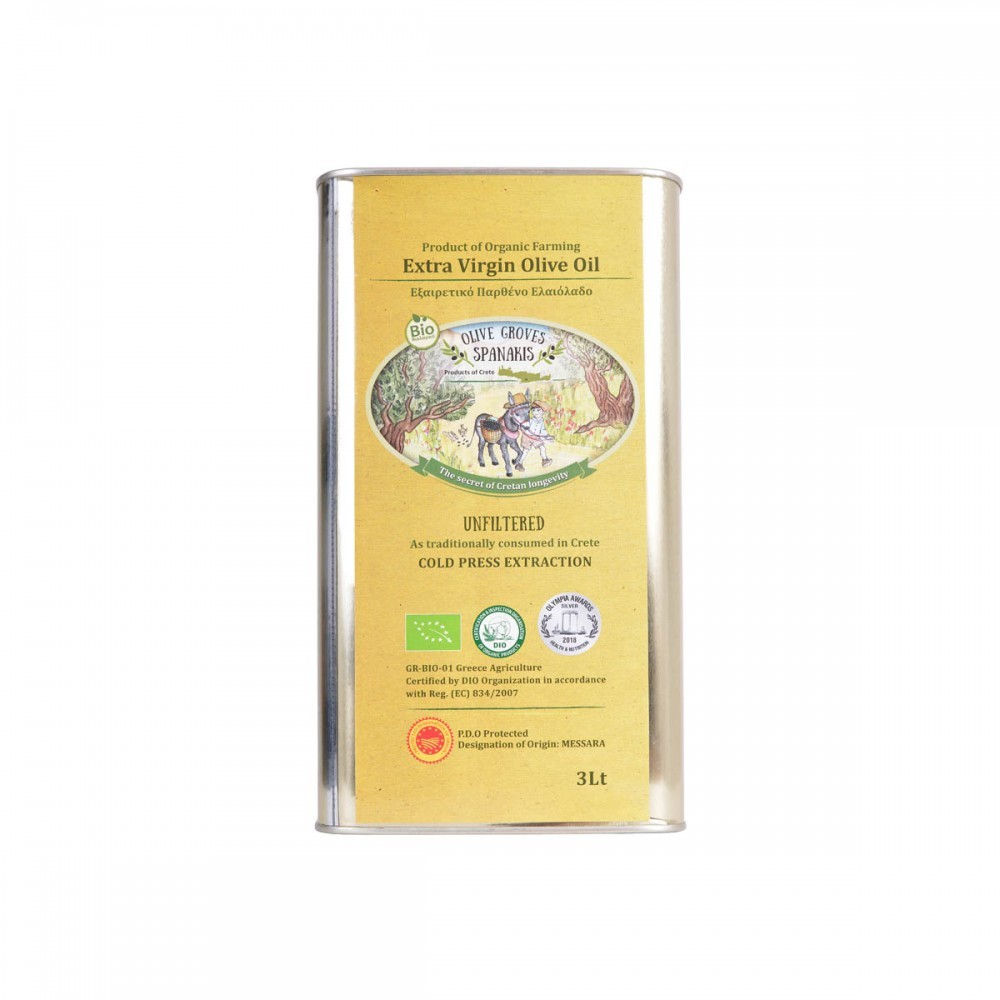 Organic unfiltered extra virgin olive oil in metal tin 3lt 1