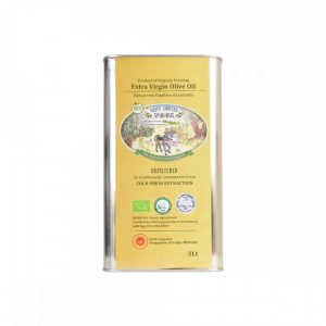 Organic unfiltered extra virgin olive oil in metal tin 3lt