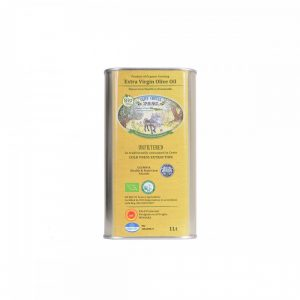 Packaging of 3 metal cans of 1lt organic unfiltered extra virgin olive oil